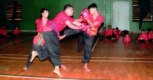 Two against one: A demonstration fight between S. Raguwaran, Ravi Soorya and Pasan David at the Grading Test