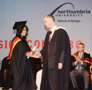 Prof. Steven Kyffin, Dean of Northumbria University UK Faculty of Arts and Design, congratulating Anuththara Weerasekare (BA Honours Fashion) at the Graduation in Sri Lanka