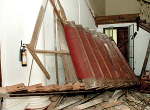 Scene of the collapsed staircase at the Museum