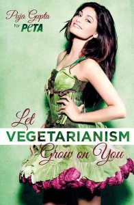 Leafy lovely: Former Miss India Puja Gupta makes an appeal for the vegetarian way of life