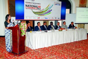 Mr.Bhathiya Hettiarachchi(Chairman The great HR Debate 2013), Majo General Rohan Kaduwela(Chairman Service Providers' Exhibition 2013), Mr.Shanaka Fernando(Chairman NHRC 2013), Air Vice Marshal Rohitha Ranasinghe(President IPM Sri Lanka), Dr.Ajantha Dharmasiri(Chairman technical Committee NHRC 2013), Mr.Dyan Seneviratne(The Chief Executive officer IPM Sri Lanka), Mr.Rukmal Bandaranayake(Chairman National HR Excellence Awards 2013)  Pix by Anusha de Silva