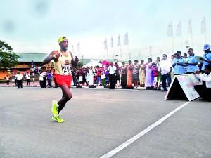 Aasela Bandara winning the half marathon for men