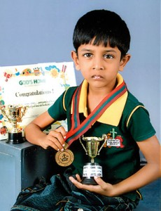 Aveesha Herat, a student of God's Home  Pre-School, Kurunegala was awarded two trophies, a gold medal and a certificate at the annual School Sports Day.