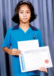 Imasha Weerawardana,  11 years, a student of  Hilburn International College, Avissawella received  certificates for First Place in Drama Competition at the Inter Hilburn Talent Competition and for Cambridge ESOL Examination (KET).