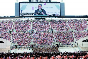 """President Obama addressing Ohio State graduates on Sunday. """"You've been tested and you've been tempered,"""" he told them."""