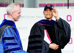 Obama urged Ohio State graduates to pursue causes for the greater good.