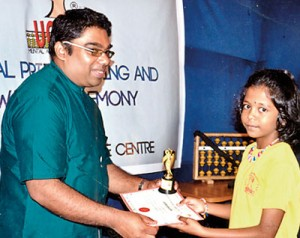 Reshayna Godfrey, a Grade Four student of OKI International School, Wattala was awarded a certificate of Distinction in International Standard of UC MAS Abacus Mental Arithmetic Proficiency Examination – Grade Nine and a certificate for the successful completion of the Intermediate B Examination in Abacus and Mental Arithmetic.