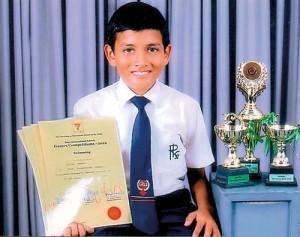Savindu Herat, a Grade Six student of Royal International School, Kurunegala won the Inter-International Schools Under 11 Swimming Championship 2012 organised by the Association of International Schools in Sri Lanka.