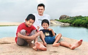 The place they loved: Steve, Vikram and Malli  at  Yala in August 2004, a few months before the tsunami