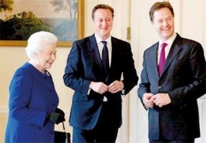 Photo from the UK Prime Minister's Office shows the Queen with Premier Cameron and Deputy, Nick Clegg. It was taken when the Queen addressed the House of Commons on Wednesday.