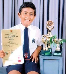 Vojitha Herat, a Grade Three student of Royal International School, Kurunegala won the Inter-International Schools Under 9 Swimming Championship 2012 organised by the Association of International Schools in Sri Lanka.