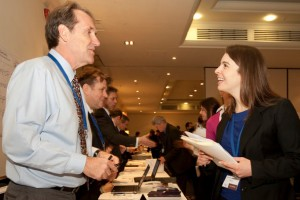 Teachers lined up at an interview sign-up session at the Council of International Schools' recruitment fair in London