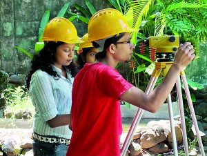 Civil Engineering Students in a Practical Session