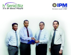 Shanaka Fernando, General Manager - Human Resources of WNS Global Services Pvt Ltd, Dinesh Saparamadu, CEO and Founder of hsenid Business Solutions, Dyan Seneviratne, Chief Executive Officer ,  Institute of Personnel Management (IPM) & Sampath Jayasundara, Director/General Manager of hsenid Business Solutions after signing the agreement.