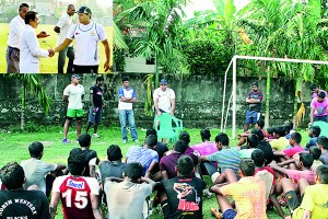 The College Rugby Team during a Training Camp with Sri Lanka rugby skipper and Sub Lieutenant of Sri Lanka Navy, Yoshitha Rajapaksa and Parliamentarian Namal Rajapaksa,