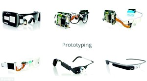 Google glass in prototype. In the top left, an early version simply had two mobiles strapped to the side of the head. As they progressed, Google began developing its own plastic and metal before the final version, bottom right, was decided upon