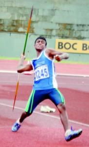 Ayesh Danuka Jayasinghe of Ibbagamuwa Central winner of under 16 javelin throw.                  - Pic by Ranjith Perera