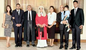 Justice Marasinghe with her family after the ceremonial sitting. Pic by Indika Handuwala
