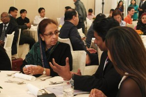 Seen here Ms. Ferial Ashroff in conversation at the Singapore event.