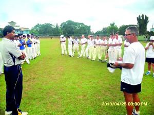 Paul Mc Ewan and Prasanna Galappaththi (SLC's district coach Matara) at the presentation after a game