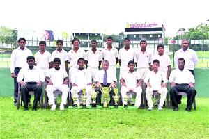 Front Row. Seated: Risan Sujith (Coach) Jehan Daniel (Best batsman of the tournament) Dineth Madurawala (Captain) (Player of the Tournament) Carlton Bernadus ( Head coach) Shehan Dilshan (Vice Captian) Praveen Jayawickrama (Best Bowler) D.D.P. Alwis (Manager)  Back Row Standing; Nishantha Sanjeewa (Coach) Nipun Sumanasinghe, Kavindu Munasinghe, Jason De Silva, Pahan Perera, Hithesh Malalagama, Yasindu Yulantha, Lahiru Udayanga, Viran Yasarathne, Fassi Anise (Coach).