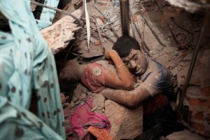 In the rubble of Rana Plaza. Photo by Taslima Akhter.