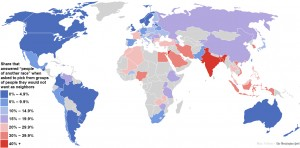 Racism: This map shows the nations of the world where people have the most and least tolerant attitudes