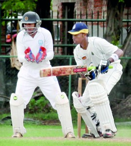 Colts' Sadeera Samarawickrema plays on the off against CCC at their home ground.       - Pic by Amila Gamage