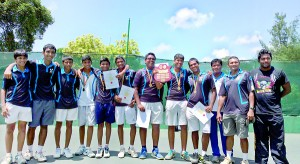 The victorious S. Thomas' College tennis team with the NSGB trophy