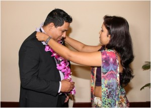 The Chief Guest  Mr. Thushara  Perera, Group Director Marketing ,  Derana is being garland by Ms. Isanka Mendis.