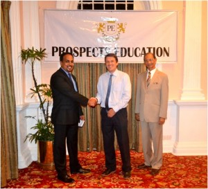 CEO/Founder of Prospects Education Mr. Somesh Perera, with Dr. Kevin Andrews and Dr. Egerton Senanayake, Director Academics of Prosepcts Education.