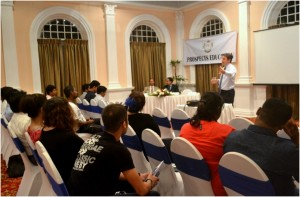 Dr. Andrews conducting a seminar on the Online MBA and BA programmes awarded by University of St. Mark and St. John UK.