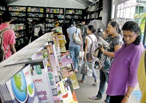 Browsing not buying: Although there were large crowds at the nine day Book Fair, sales were down. Pic by Athula Devapriya