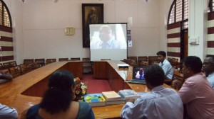 Vice Chancellor of Jaffna University, Snr. Prof. (Ms) Vasanthi Arasaratnam and  President, IESL, Eng. Tilak De Silva interacting through SKYPE with Chairman , IESL NSW Chapter, Chairman, Eng. Kamal Fernando at the event.