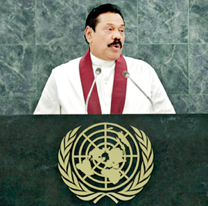 President Rajapaksa addressing the UN General Assembly's 68th sessions on Tuesday.