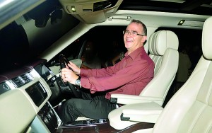 Picture by Ranjit Perera shows British Ambassador John Rankin trying out the new Range Rover vehicle.
