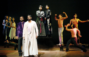 Mario de Soyza as Pontius Pilate and Rehan Almeida as Jesus. In the background (centre) Sachintha Dias as Caiphas and Dino Corea as Anaas