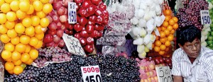 Colourful but could be harmful: Wherever one looks imported fruits are freely available. Pix by Athula Devapriya