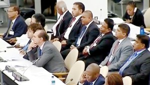 Members of the SL delegation that attended last month's UN General Assembly sessions in New York  and right the picture which we inadvertantly carried last week as this year's delegation