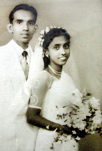 Then and now: Pearl and Alfred Perera, on their weding day in 1953