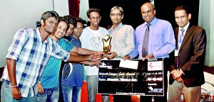 Pix show  the  SLIIT team receiving their award (above)and the Mahinda College Galle team receiving their award (bottom).