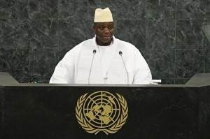 Gambian President Yahya Jammeh speaks at the UN General Assembly (AFP)