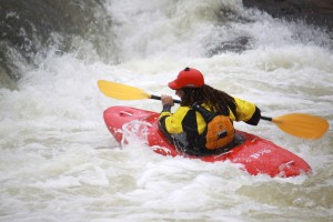 Picture shows white water rafting taken during the shooting of the ad-film.