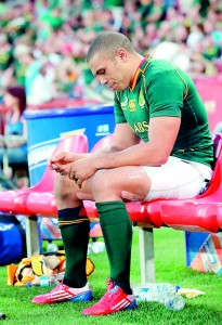 Brian Habana after getting injured against New Zealand