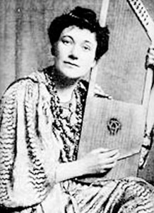 Florence strumming her psaltery harp (1903). Pictures courtesy wikipedia.org