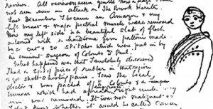 Letter to Yeats in which Florence illustrates her mastectomy