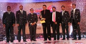 Lankasoy collects the award. Pic by Indika Handuwala