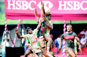 Action in the Sri Lanka Vs Hong Kong match at the Indian 7s played in Bombay.