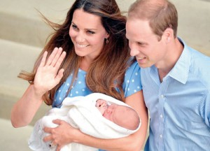 Prince William and Kate with their baby son outside the Lindo Wing of St. Mary's Hospital in Central London, July 23 (AFP)