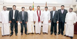 UPFA councilors pose for a photograph with President Rajapaksa after they were sworn in by the President this week. Picture courtesy EPDP